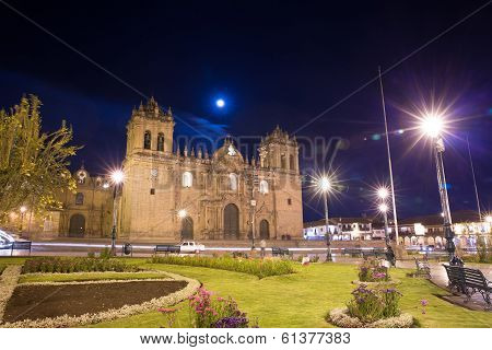 Cusco, Peru, South America, Cathedral Of Santo Domingo. Night Views On Main Square, Plaza De Armas D