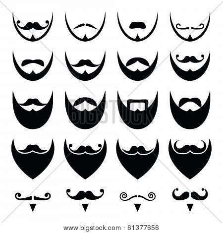 Beard with moustache or mustache vector icons set