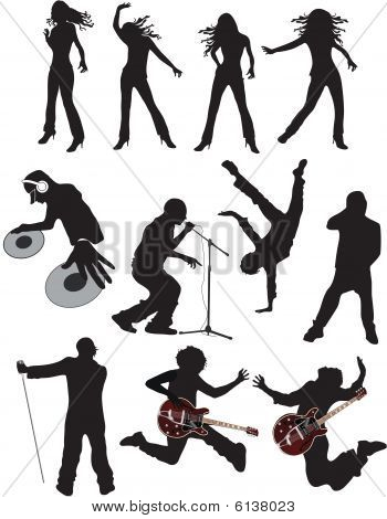 music people vector silhouettes.