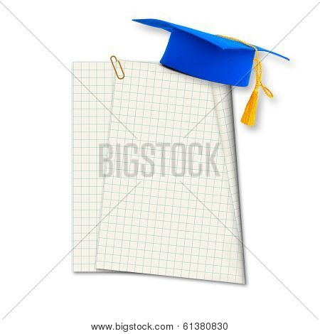 Mortar Board Or Graduation Cap With Paper Leaf  Isolated On White Background