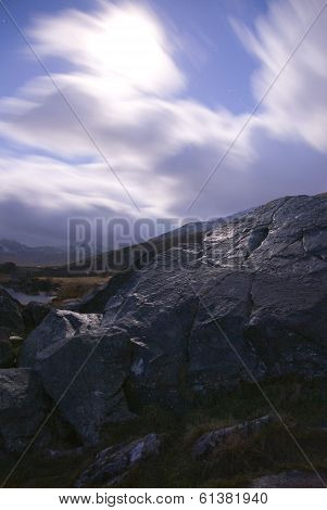 Moonlight on rocks, Snowdonia, Wales