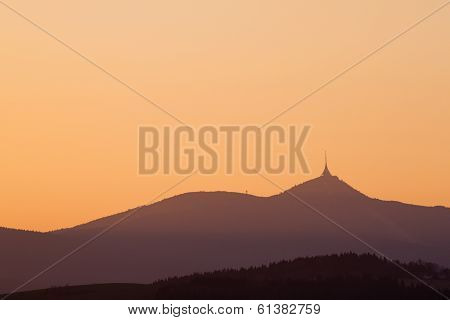 Sunset In Mountains. Karkonosze Mountains, Czech Republic.
