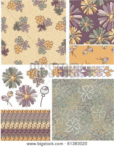 Floral Vector Seamless Patterns and Elements. Use as fills, digital paper, or print off onto fabric to create unique items.