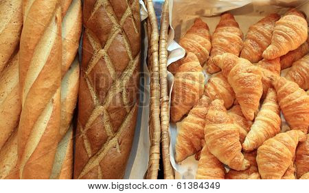 French Baguette And Croissant Bread