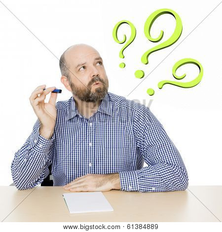 An image of a handsome man with 3 green question marks