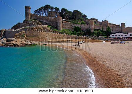 Castle View In Tossa De Mar, Costa Brava, Spain.