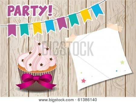 Party cupcake with post it note