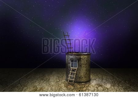 Mysterious Fantasy House Cosmic Scenery