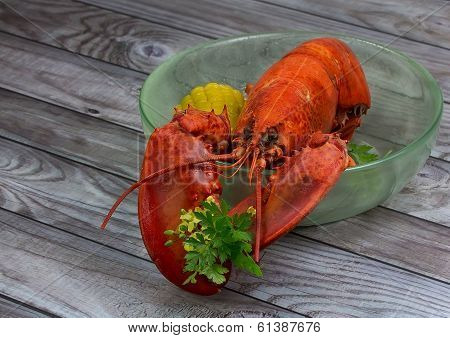 Red Lobster In Bowl On Wooden Background