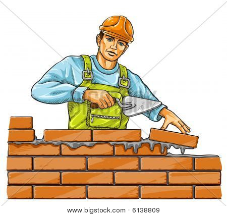 builder man with derby tool building a brick wall