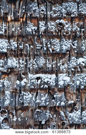 Cedar Shingles During A Cold Winter Day