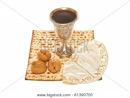 Matzo silver Kiddush cup three walnuts and Yarmulke