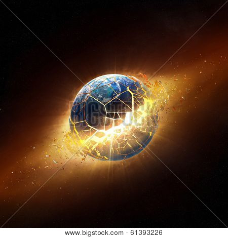 Planet earth explode in space  (Elements of this 3d image furnished by NASA -  texture maps from http://visibleearth.nasa.gov/)