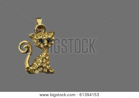 Golden Brooch Of A Cat With Copy-space On Right