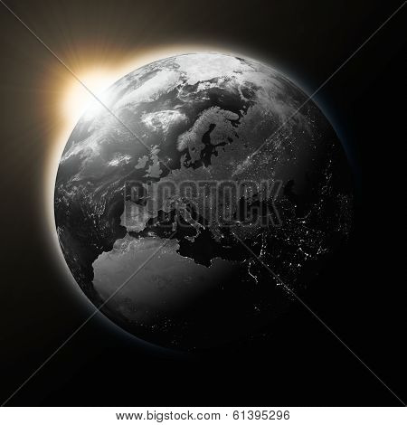 Sun Over Europe On Dark Planet Earth