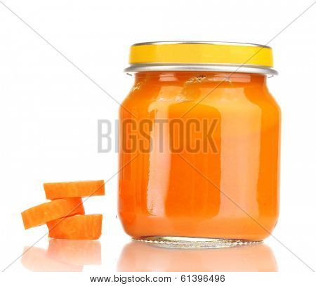 Jar of baby puree with carrot isolated on white