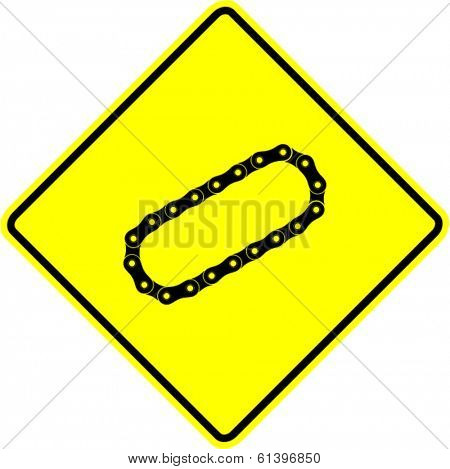 bicycle or motorcycle roller chain sign