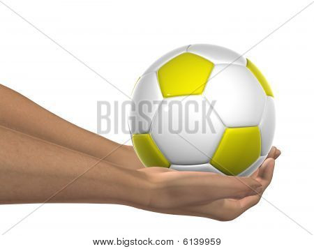 HIGH RESOLUTION yellow and white 3D soccer ball held in hands