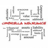 Umbrella Insurance Word Cloud Concept In Red Caps