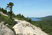 stock photo of oddities  - Areal view from the South Bubble Mountain At Acadia National Park - JPG