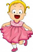 foto of frilly  - Illustration of a Smiling Little Girl Wearing a Pink Frilly Dress - JPG