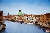 stock photo of piccolo  - Venice Grand canal and San Simeone Piccolo church view from the modern constitution bridge near Railway station - JPG