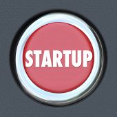 Startup Word Car Ignition Start Button Launch New Business