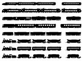 stock photo of railroad car  - Set vector horizontal silhouettes of trains locomotives with different wagons - JPG