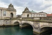 stock photo of copenhagen  - The Marble Bridge and the pavilions near Christiansborg Palace in Copenhagen Denmark - JPG