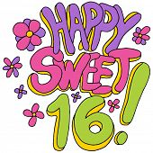 foto of sweet sixteen  - An image of a happy sweet sixteen message - JPG