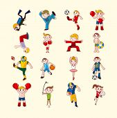 image of lap dancing  - sport player icons set - JPG