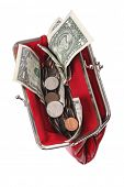 Red coin purse with money