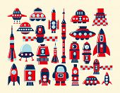 Retro Rocket Icons Set Element