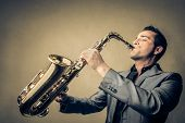 stock photo of sax  - sax player - JPG