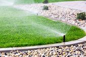 foto of sprinkling  - Set of automatic sprinklers watering fresh grass - JPG