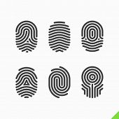 picture of personal safety  - Fingerprint icons set - JPG