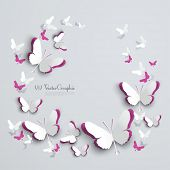 stock photo of paper cut out  - Abstract 3D Paper Butterflies Cut - JPG