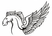 image of winged-horse  - illustration of black white pegasus with wing - JPG