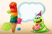 Illustration of a happy monster holding a cake near the big icecream