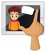 Illustration of a hand touching a gadget with a man thinking on a white background