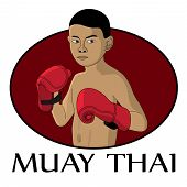 stock photo of muay thai  - picture of young muay thai fighter vector eps 10 illustration - JPG