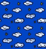 Drawn seamless pattern with clouds and stars