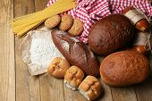 Bakery products on wooden table