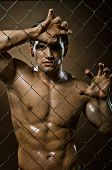 stock photo of felons  - the very muscular handsome felon guy out of netting steel fence - JPG