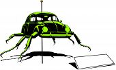 stock photo of beetle car  - Crazy beetle mutation fun illustration art vector - JPG