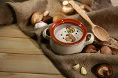 Mushroom soup in pot,on napkin,  on wooden background