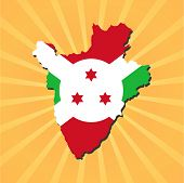 Burundi map flag on sunburst vector illustration