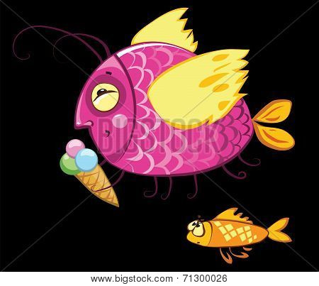 cartoon fishes characters, icecream gourmand