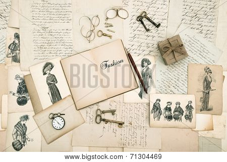 Old Accessories, Letters And Fashion Drawings From 1911