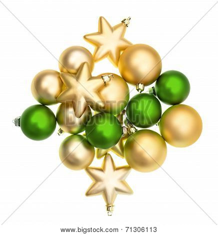 Closeup Of Green And Golden Balls